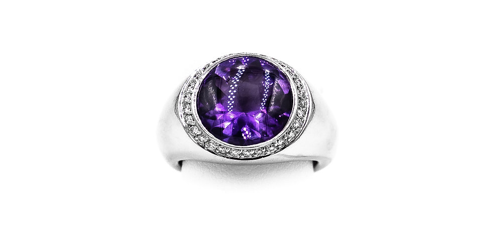 White Gold Amethyst Set In A Channel Halo HP Ring