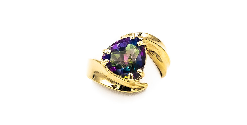 Yellow Gold Mystic Topaz  510 Set In A Twist Ring