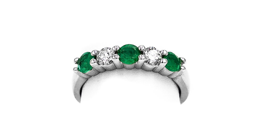 White Gold 3 Round Stone Emerald Ring