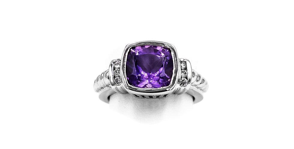 White Gold Square Princess Bezel Set Amethyst Ring