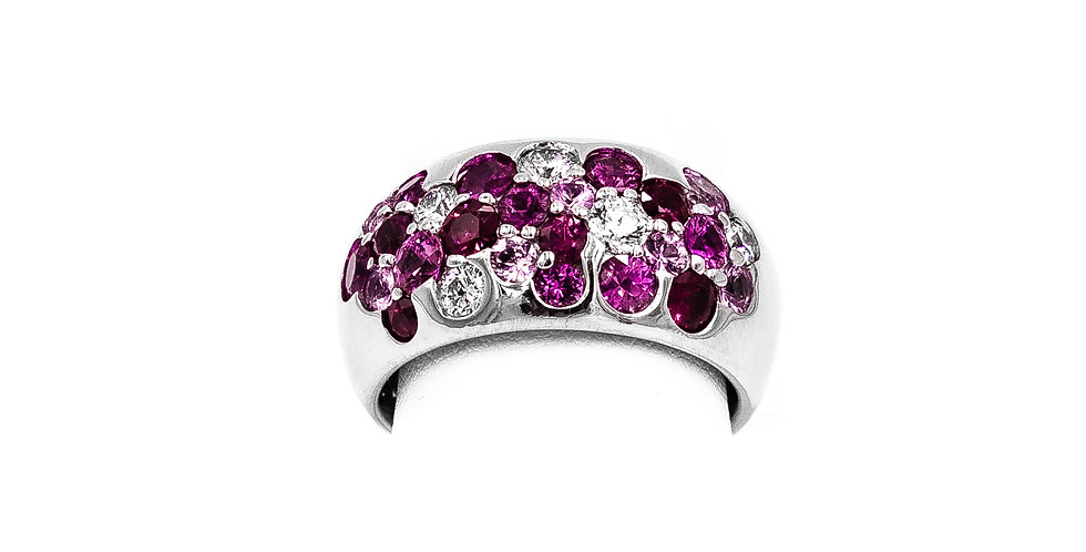 White Gold Pink Sapphire Dome Style High Polish Ring