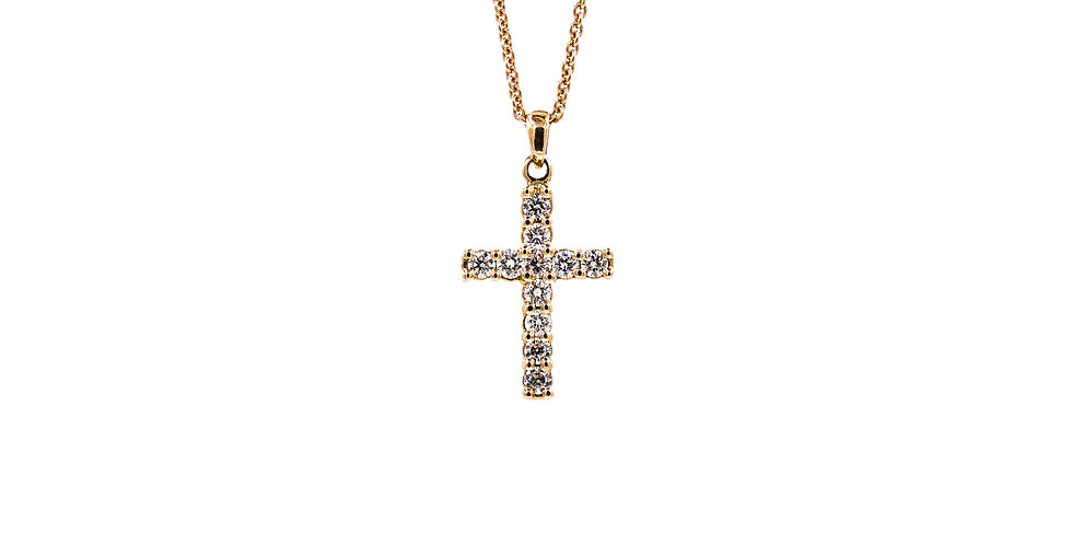 Rose Gold Round Stone Prong Set Cross Necklace