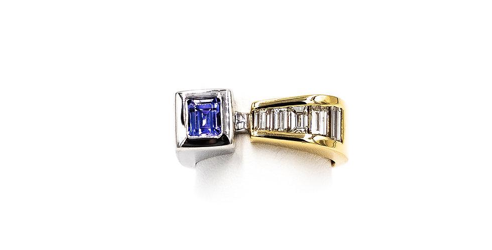 Two Tone Tanzanite Princess Cut Diamond Banquet Ring