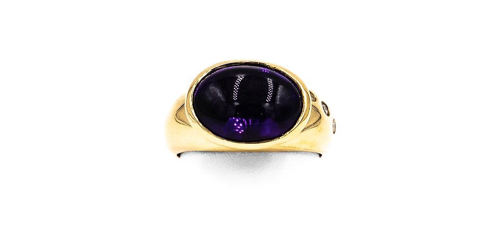 Yellow Gold Amethyst 3 Diamonds On Shank Burnished Bezel Ring
