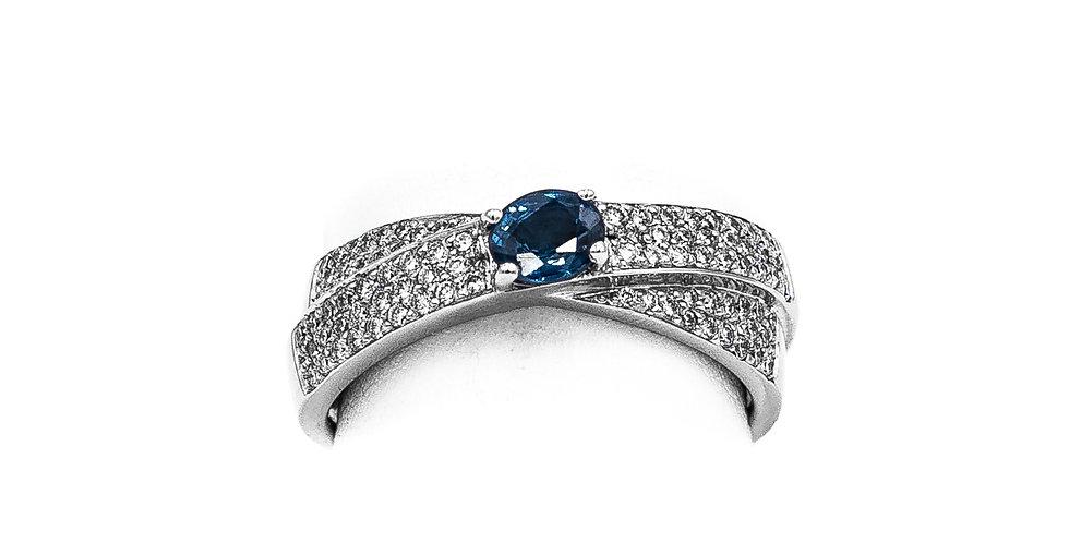 White Gold Sapphire Center Diamond Wrap Ring