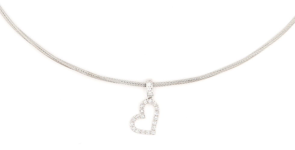 Alor Grey Cable Necklace With White Gold Heart Pendant Ref. 08-32-S146-11