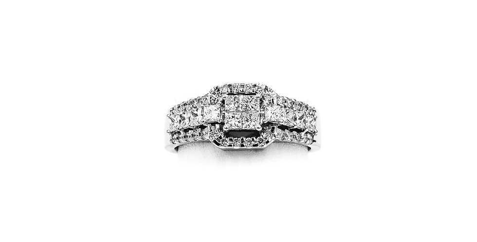White Gold Diamond Cluster With 4 Princess Invisible Set Diamond Ring
