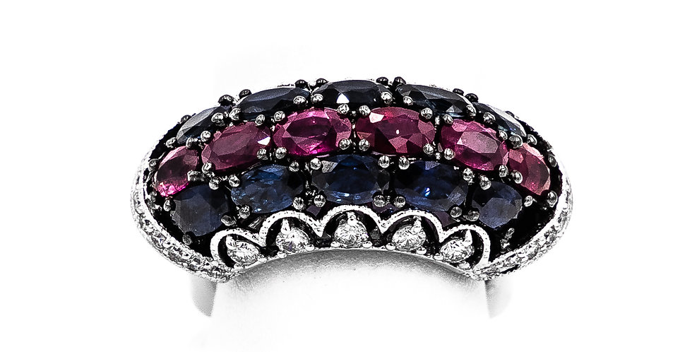 White Gold 10 Sapphire 6 Rubies Curved Shank Ring