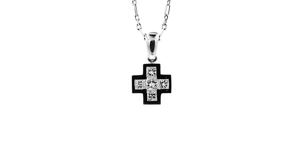 White Gold Open Link Chain Princess Cut Diamond Cross Necklace