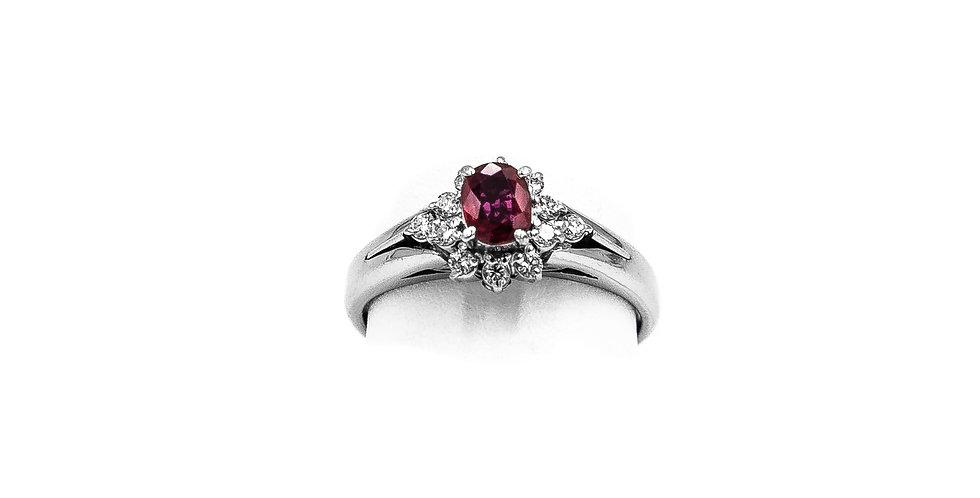Platinum Diamond Ruby Center Prong Ring