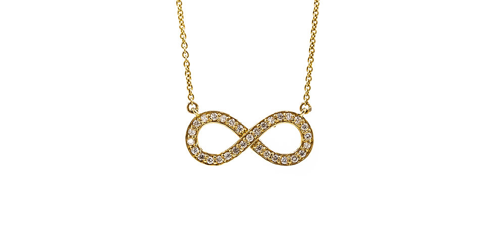 Yellow Gold Infinity Pendant With Cable Chain Attached Necklace