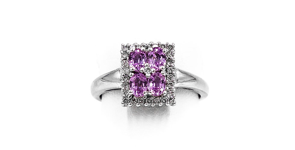 White Gold Pink Sapphire Center Ring