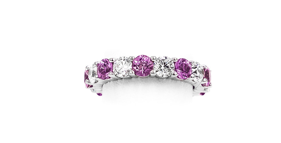 White Gold Pink Sapphire Diamond Ring Band Ring