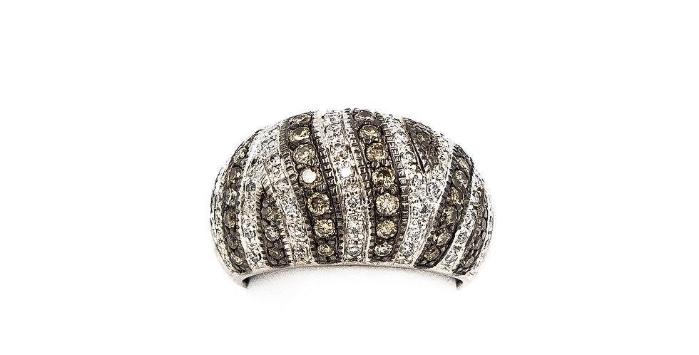 White Gold Champagne/White Diamond Dome Ring