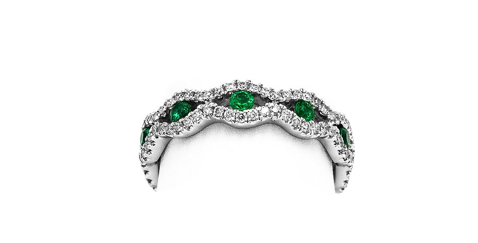 White Gold Round Emerald Wire Twist Ring