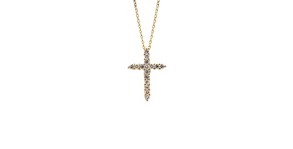 Yellow Gold 16 Stones Diamond Cross Necklace