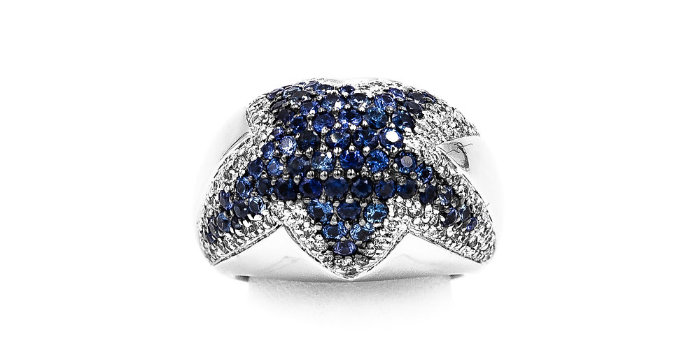 White Gold Pave Diamond & Sapphire Star Ring