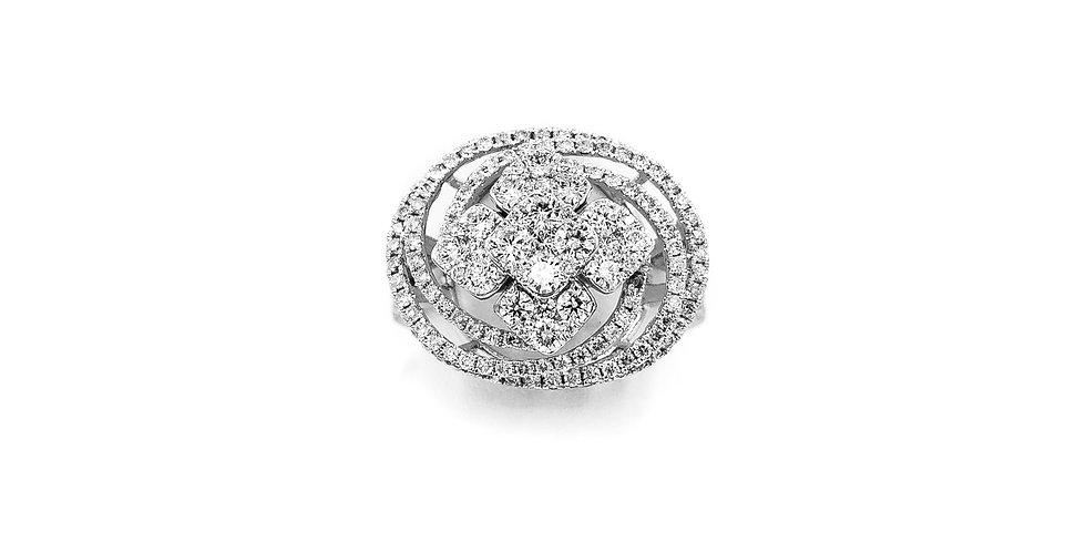 White Gold Oval Shape Flower Cluster Center Diamond Ring