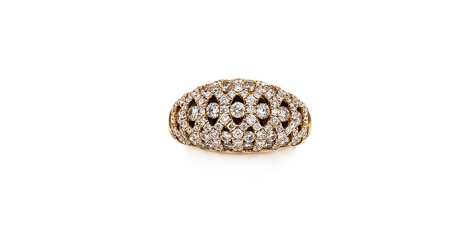 Rose Gold Dome Open Work Pave Set Diamond Ring