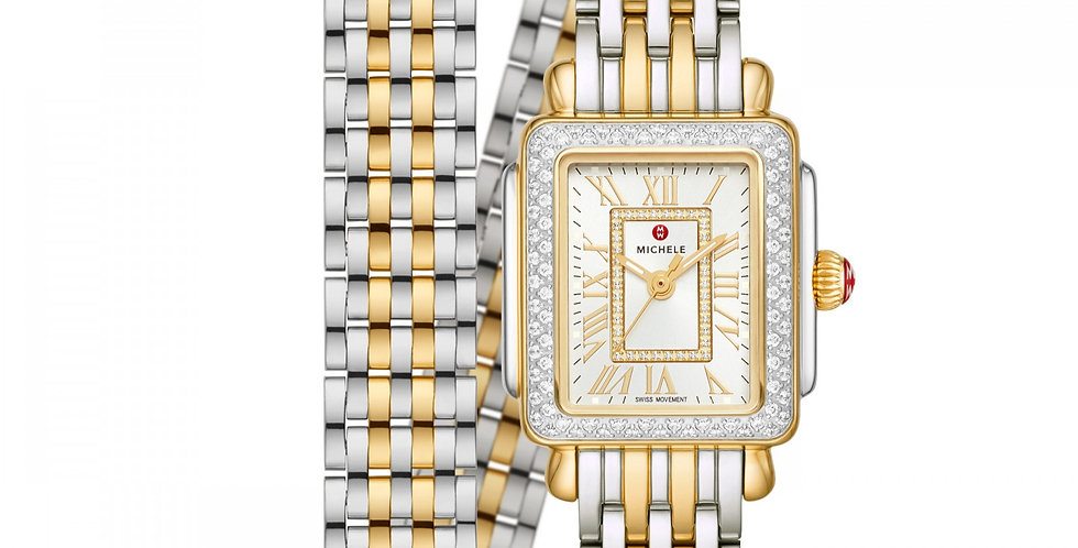 Michele Deco Mini Two-Tone 18k Gold Diamond Watch MWW06D000163