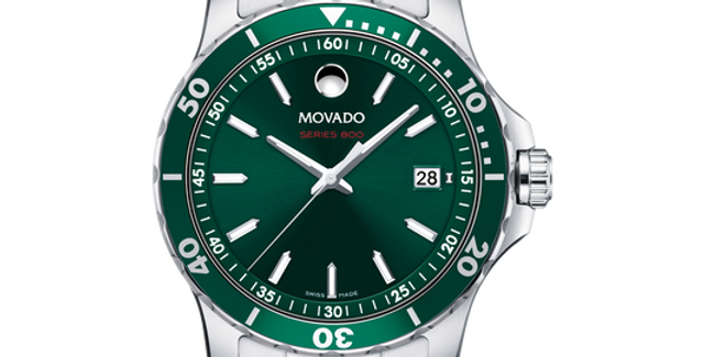 Movado Series 800 Green Dial Stainless Steel Men's Watch 2600136