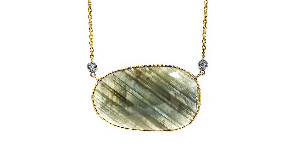Classic Sapphire Slice Yellow Gold Necklace
