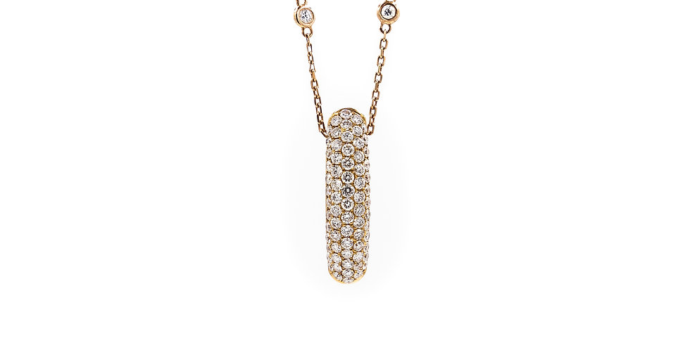 Rose Gold 3 Rows Pave Set Bar Necklace