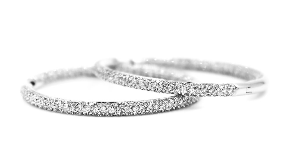 Classic Diamond Inside Outside Large Pave Hoop