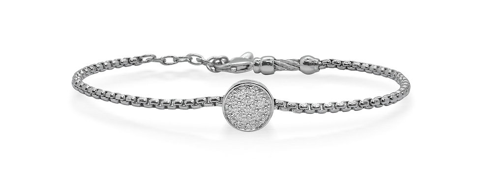 Alor Expressions Scattered Bracelet with Round Diamond 14k Station 06-32-1012-11