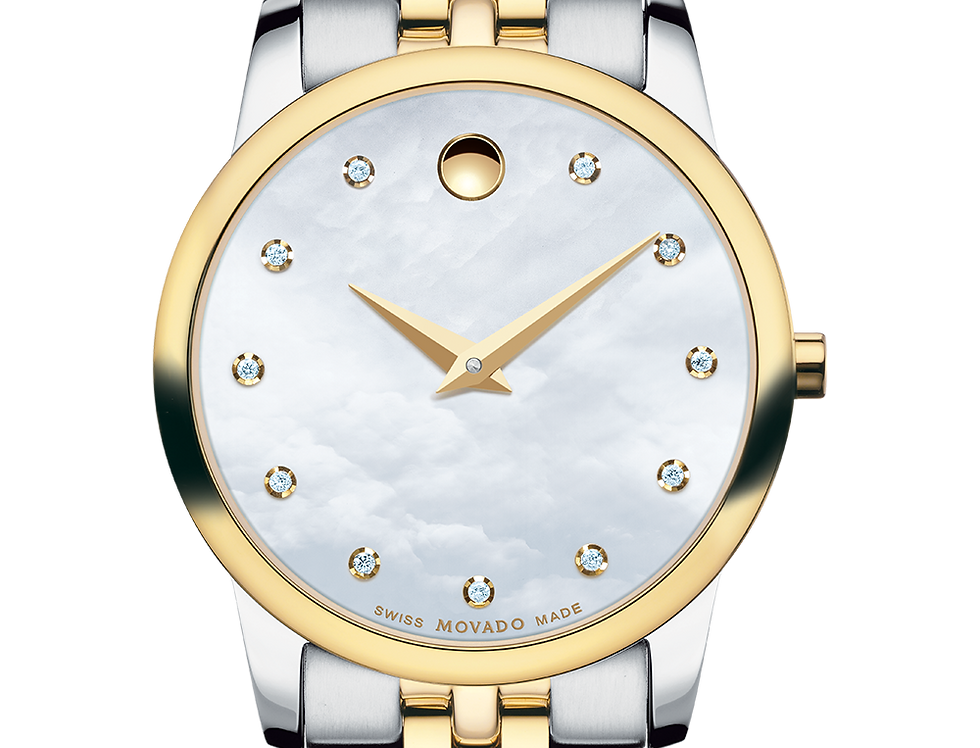 Movado Museum Mother of Pearl Diamond Two Tone Ladies Watch 0606613