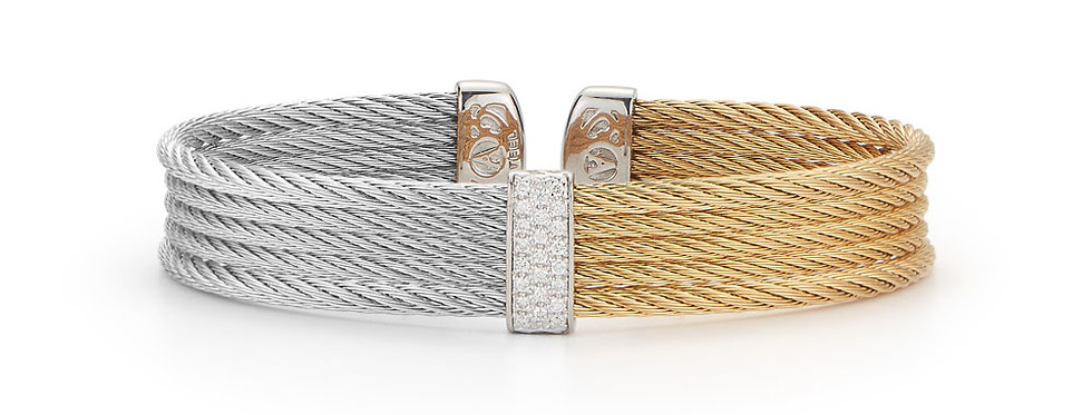 Grey & Yellow Cable Mini Cuff with 18kt White Gold & Diamonds Ref. 04-34-S651-1