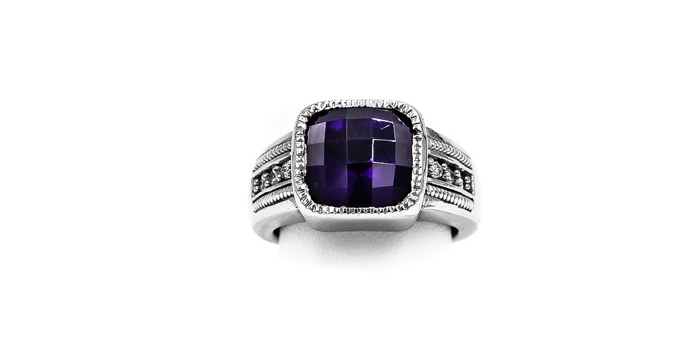 White Gold Checkerboard Amethyst Stone Bezel Set Ring