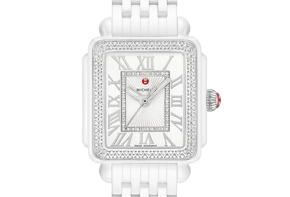 Michele Deco Madison Mid White Ceramic Diamond Watch MWW06G000026