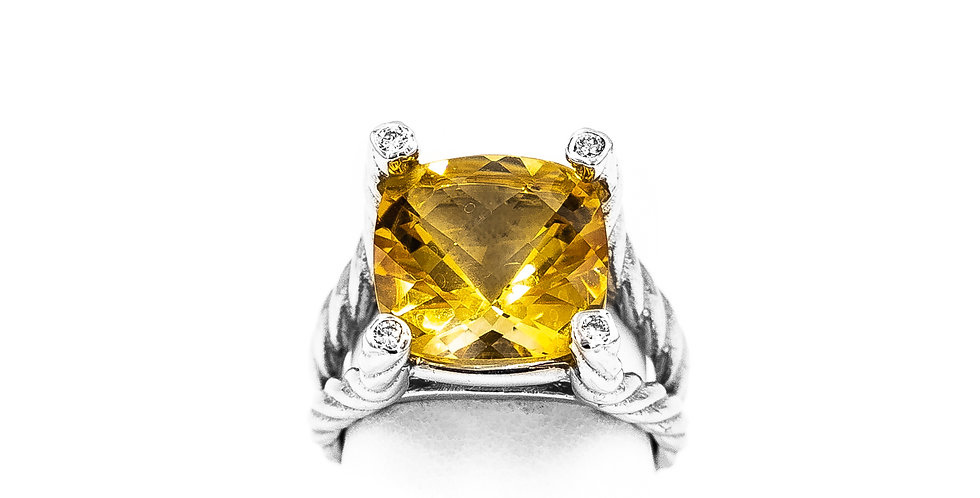 White Gold Citrine Cushion Diamond Bezel On Prongs Ring
