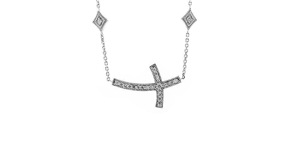 White Gold Sideways Diamond Cross Ladies Necklace