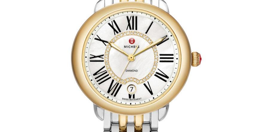 Michele Serein Mid Two-Tone Diamond Dial Watch MWW21B000015