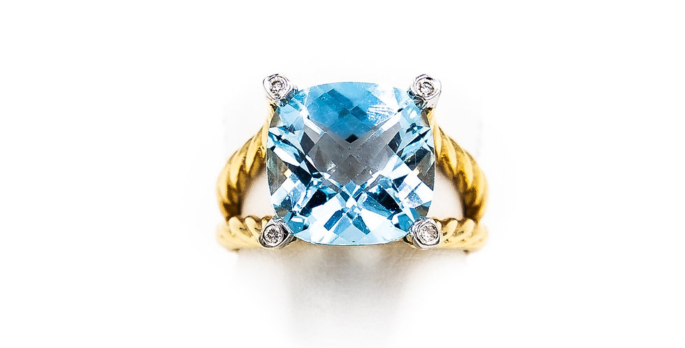 Yellow Gold Blue Topaz Cushion With Diamond Bezel Ring
