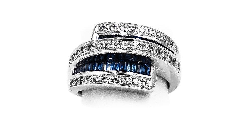 White Gold Bypass Banquet Sapphire Center Ring