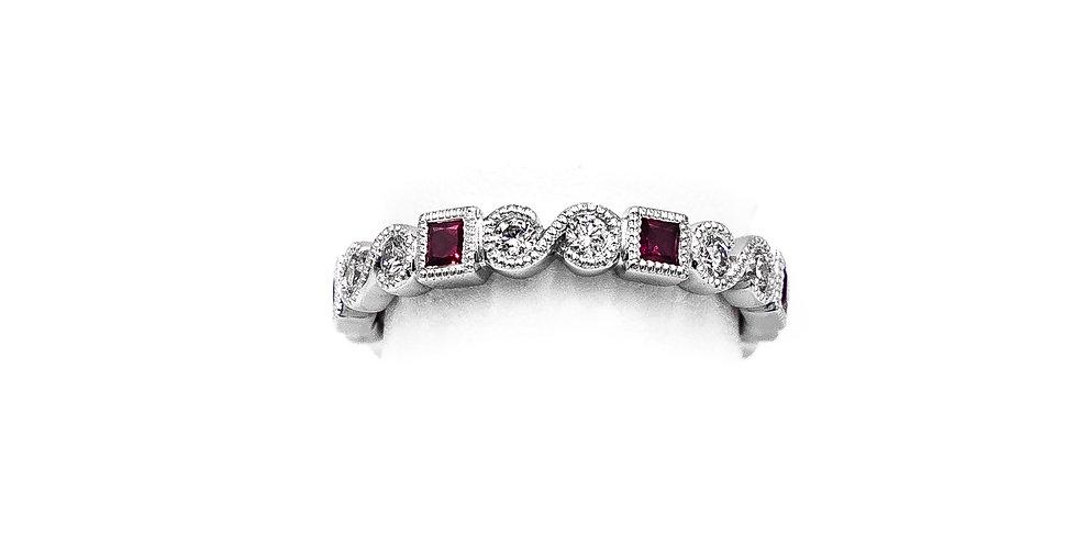 White Gold Diamond Ruby Miligrain Design RD and SQ Shape Ring