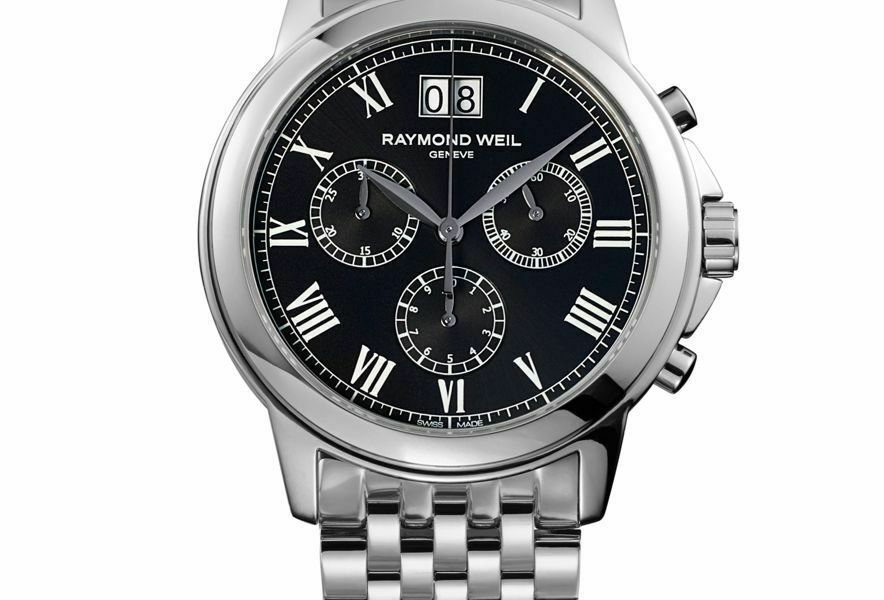 Raymond Weil Tradition Chronograph Black Dial SS Mens Quartz Watch 4476-ST-00200