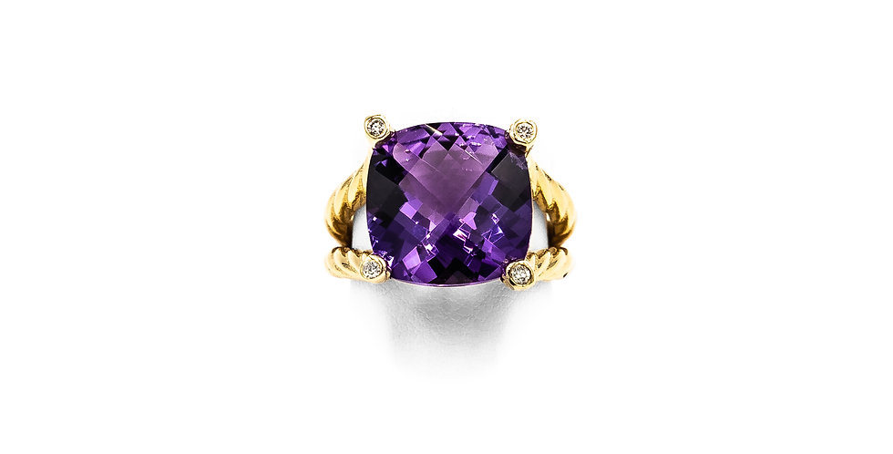 Yellow Gold Cushion Facet Amethyst Diamond Bezel Prongs