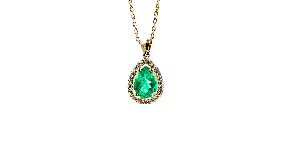 Classic Yellow Gold Pear Shaped Diamond Halo Emerald Necklace