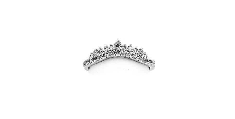 White Gold Crown Contour Band Diamond Ring