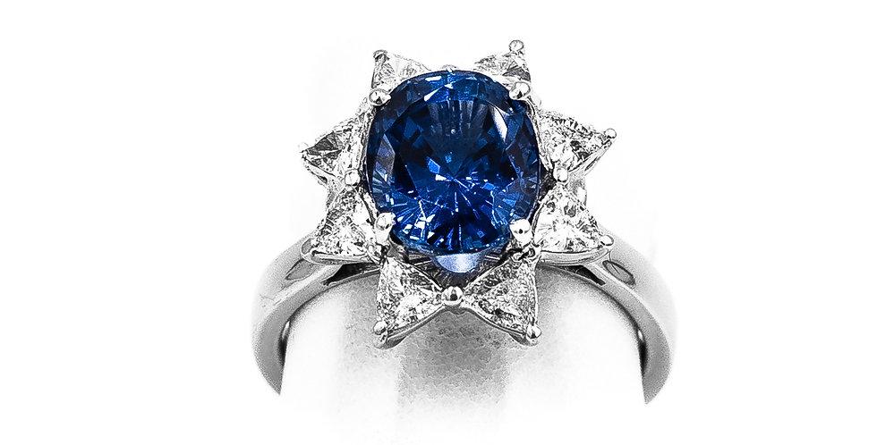 Platinum Sapphire Triagl Ring