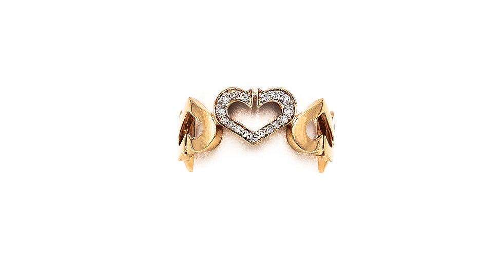 Rose Gold Heart Eternity Center Diamond Ring