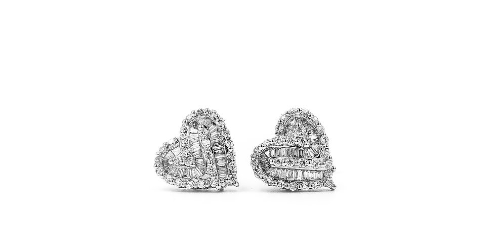 Classic Diamond Heart Shape Studs