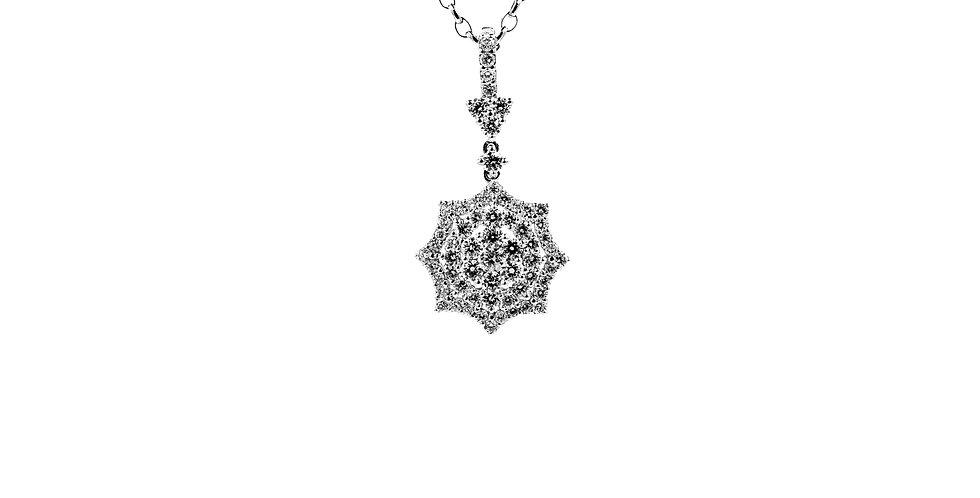 Classic White Gold Double HaloDiamond Necklace