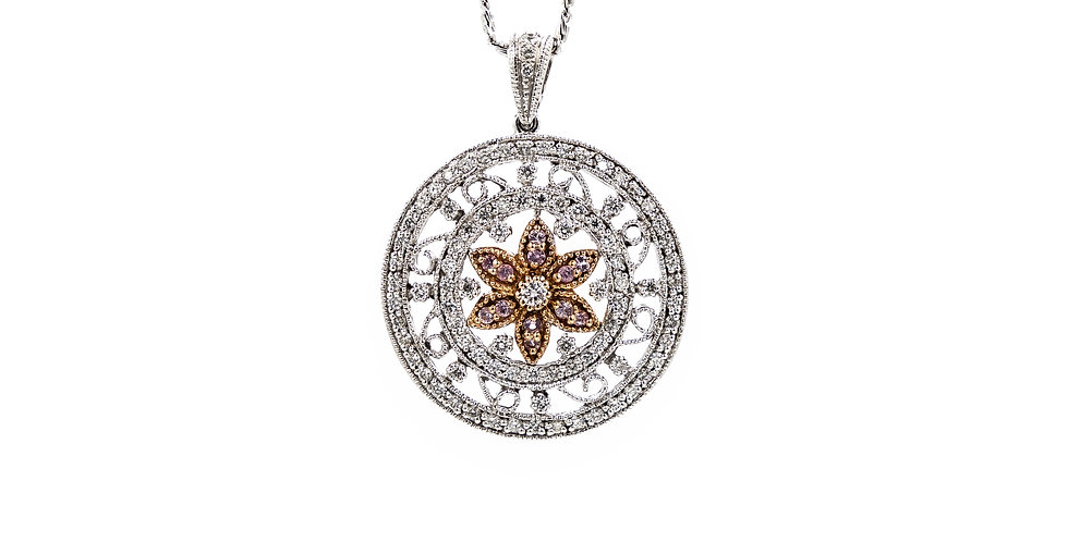 White Gold Flower Pendant With Pink Sapphire Center