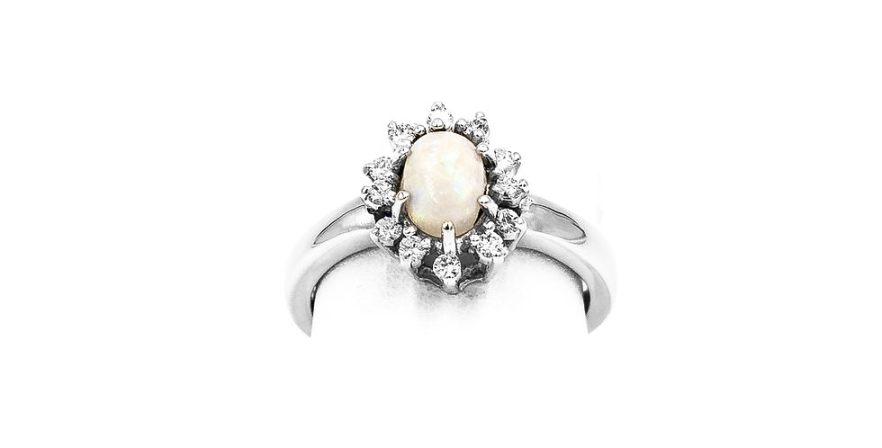 White Gold Opal Diamond Oval Halo Ring