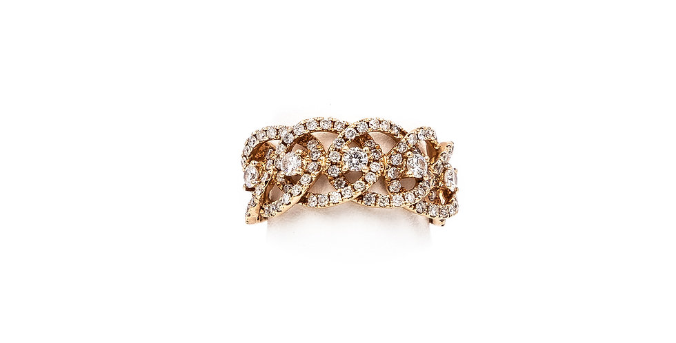 Rose Gold Open Micro Pave Link Diamond Ring